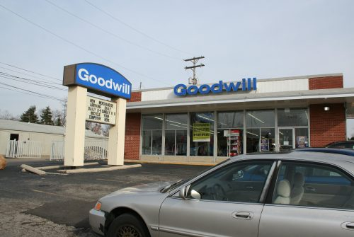 Goodwill store exterior, one-story brick and stucco building