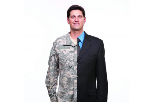 White man wearing vertical outfits, half suit, half Army fatigures