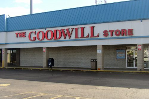 Goodwill store, brick and stucco one store in shopping center