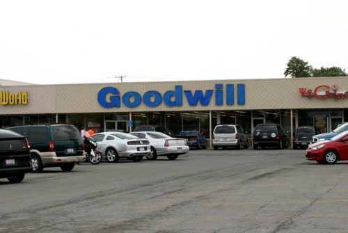 Goodwill store exterior, one-story building in a shopping center