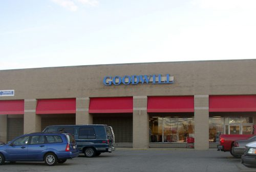 Goodwill store exterior, one-story brick building in a shopping center