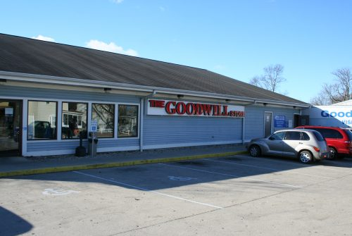 Goodwill store exterior, older one-story building