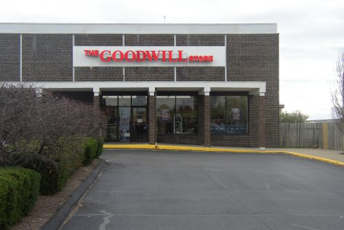 Goodwill store exterior, one-story brick building
