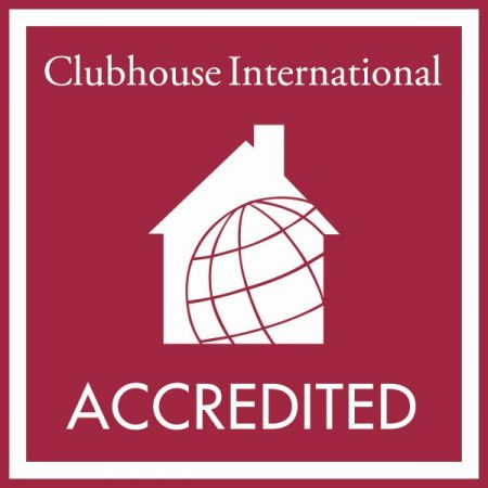 Clubhouse International logo is a white house and globe against a red background