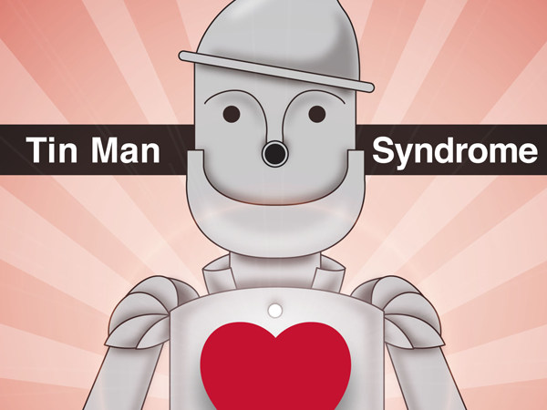 Tin Man from Wizard of Oz, drawn with a heart